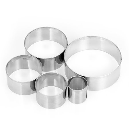 5pcs Round Stainless Steel Cookie Cutters Fondant Cutter Biscuit Cutters Sandwich Cutters Cookie Cutter - Round Sandwich