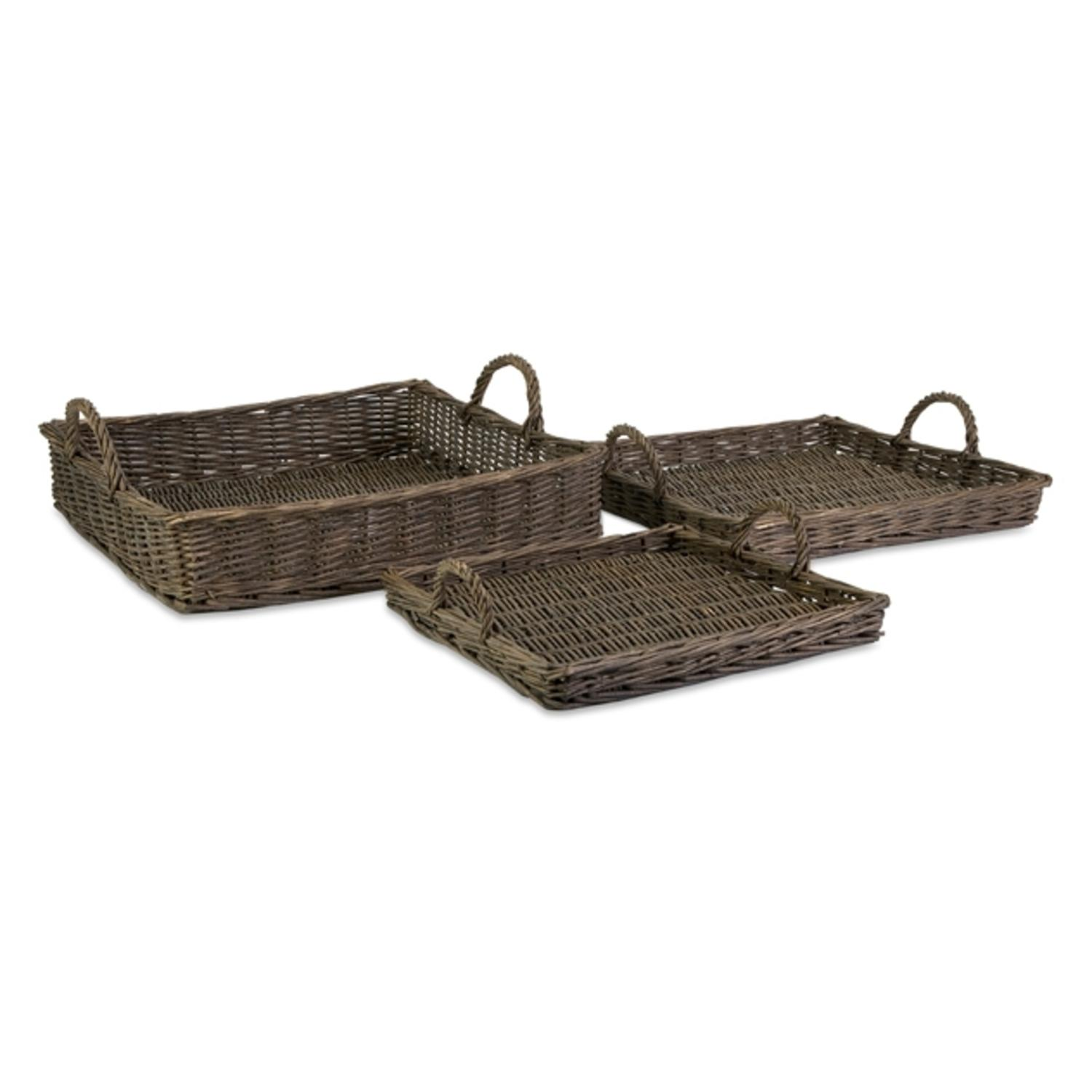 Set of 3 Country Rustic Woven Willow Serving Trays with Handles