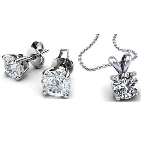 Genuine 1 1/2 Carat Natural Solitaire Round Cut Diamond 4 Prong Necklace & Studs Earring Set in 14k White Gold