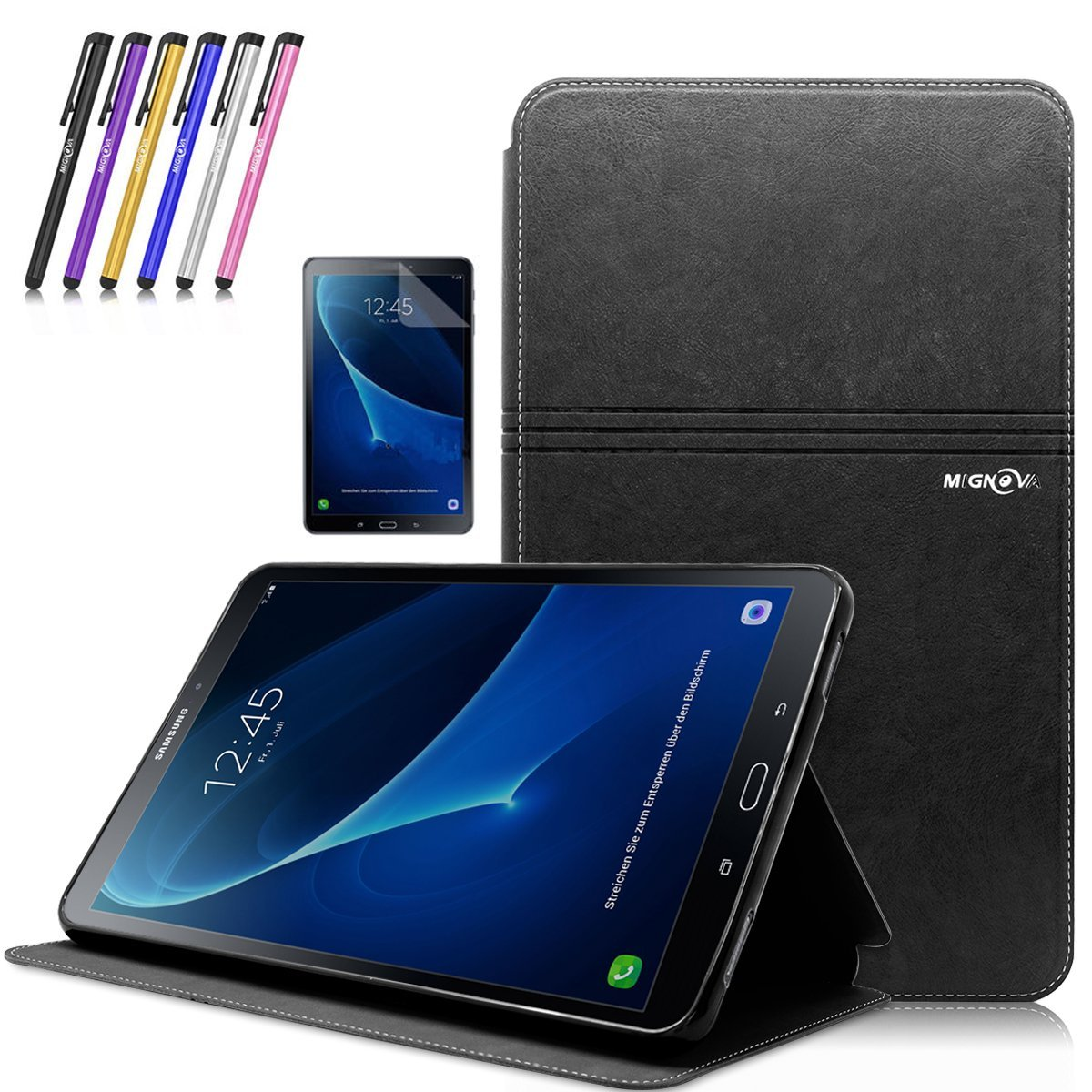 Mignova Tab A 10.1 Case , Slim Lightweight Smart Cover Auto Sleep/Wake Feature for Samsung Galaxy Tab A 10.1 Inch (SM-T580 /SM-T585) Tablet 2016 Release +Screen Protector Film and Stylus Pen (Black)