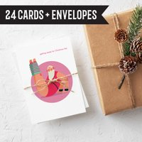 Yoga Santa Christmas Cards - 24 Funny Fitness Themed Holiday Cards with Envelopes   Bulk Wholesale Box - Made in the USA