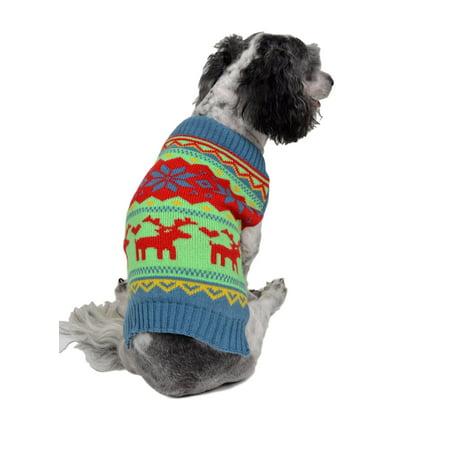 rwb pet classic reindeer ugly christmas dog sweater green - Ugly Christmas Dog Sweater