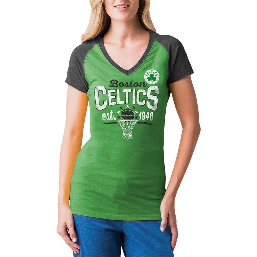 NBA Boston Celtics Women's Short Sleeve Raglan V Neck Tee