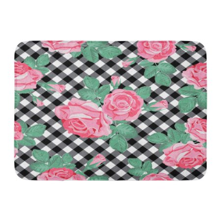 Godpok Blooming Flower Floral Pink Roses On Black And