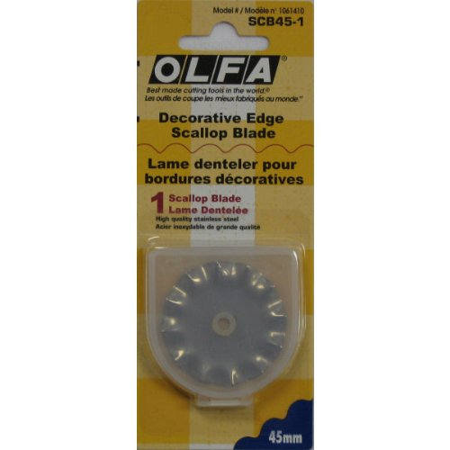 Fabric Rotary Cutter 45mm Scallop & Peak Replacement Blade By, High-quality stainless steel. By OLFA