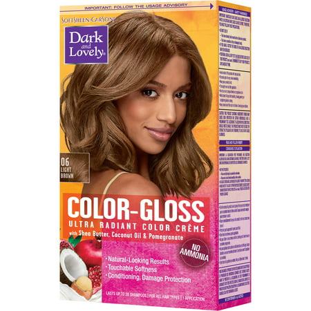SoftSheen-Carson Dark and Lovely Color-Gloss Ultra Radiant Hair Color Creme, Ammonia Free Hair Dye, with Coconut Oil and Argan