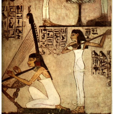 Ancient Egyptian Wall Paintings 1956 Girls playing the harp and lute Canvas Art -  (18 x -