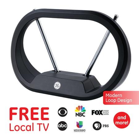 GE UltraPro Indoor Digital TV Antenna, 30 Mile Range, 4K 1080P VHF UHF, Modern Rabbit Ear, Extendable Dipoles, Tabletop, HDTV Antenna, Smart TV Compatible, Compact Design, 33675