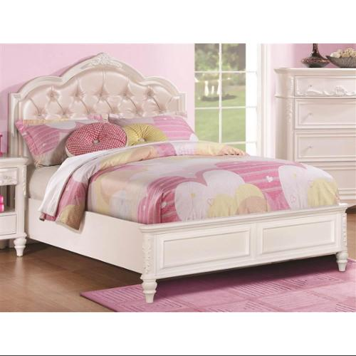 Bed with Diamond Tufted Headboard (Twin - 83.25 in. L x 41.5 in. W x 50 in. H)