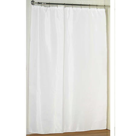 White Extra Long Fabric Shower Curtain Weighted Hem