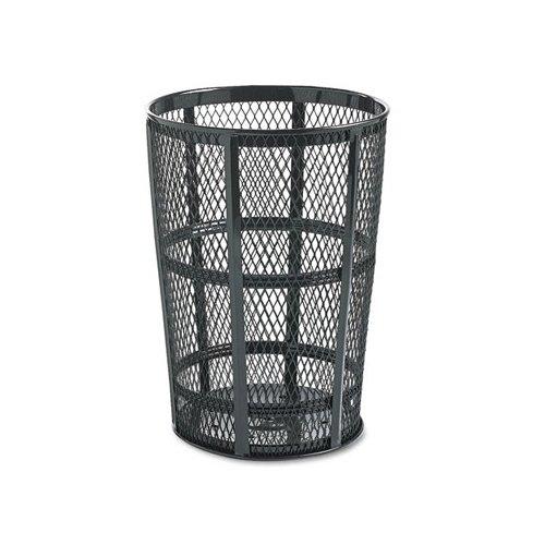Rubbermaid Commercial Products Steel Street Basket Waste Receptacle in Black