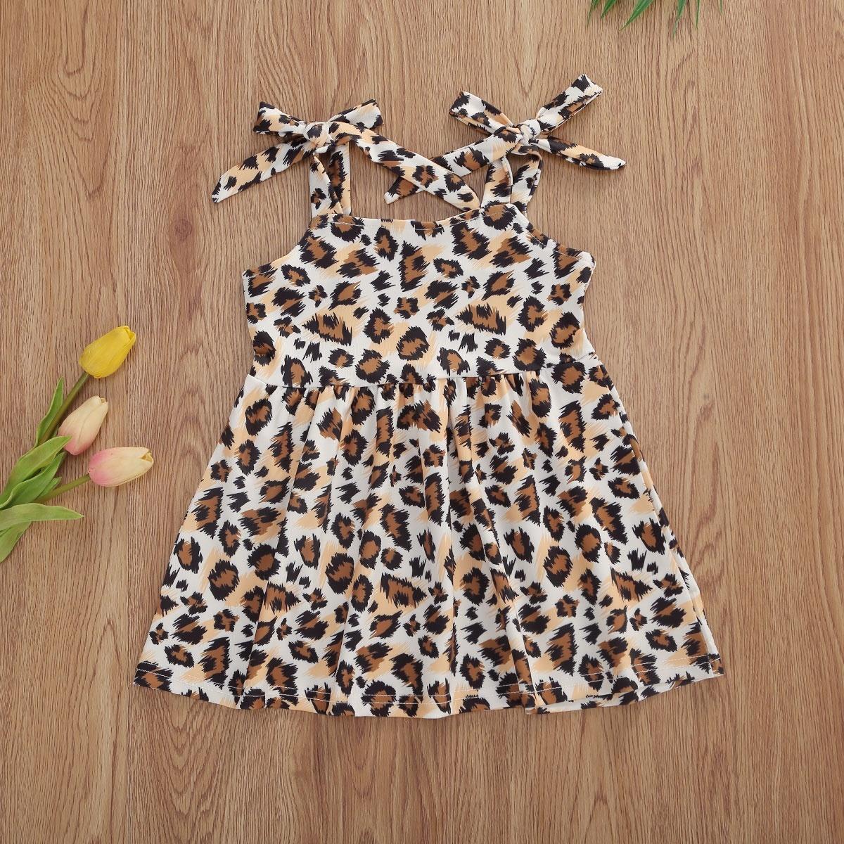 Little Girls Dress Leopard Pattern Sleeveless Patchwork Pleated Straps Outfit Waist Design Loose Sweet Cute Summer Dress Walmart Canada