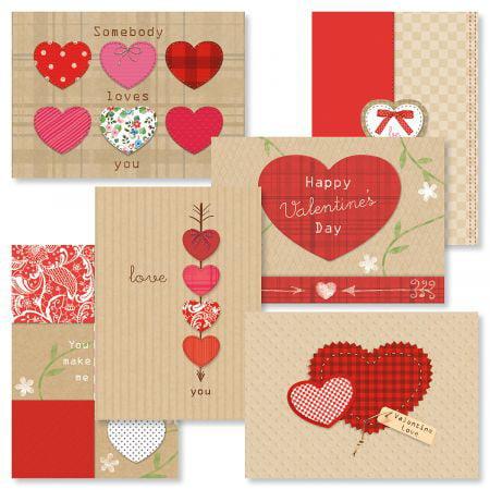 Kraft Heart Valentine's Day Value Pack - Set of 12 cards (2 of each design)