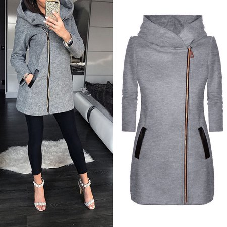 ladies winter high collar hooded colorblock zipper long sleeve coat