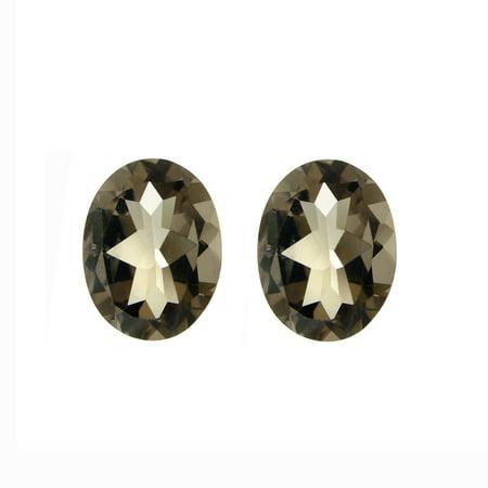 Glitzy Rocks  9x7 Oval-cut Smokey Quartz Stones (3 1/3ct TGW) (Set of 2) ()