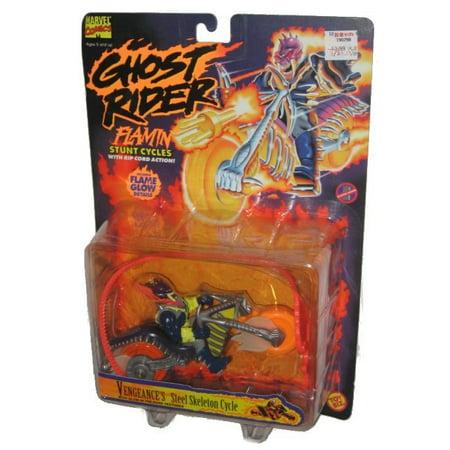 Ghost Rider Flamin Stunt Cycles Toybiz Vengeance Steel Skeleton Figure W  Rid Cord   Flame Glow