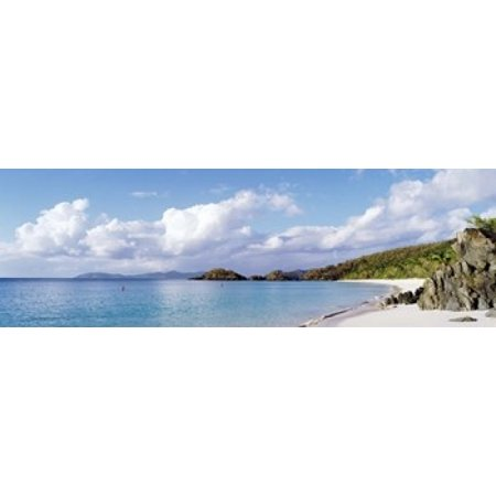 High angle view of the beach Trunk Bay St John US Virgin Islands Canvas Art - Panoramic Images (18 x