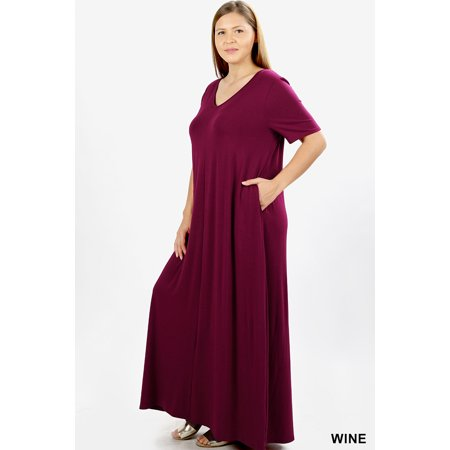 453f3c43f7f JED FASHION - JED FASHION Women s Plus Size V-Neck Short Sleeve Casual Maxi  Dress - Walmart.com