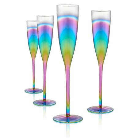 Artland Rainbow Flute S/4, 6Oz - Purple Plastic Champagne Glasses