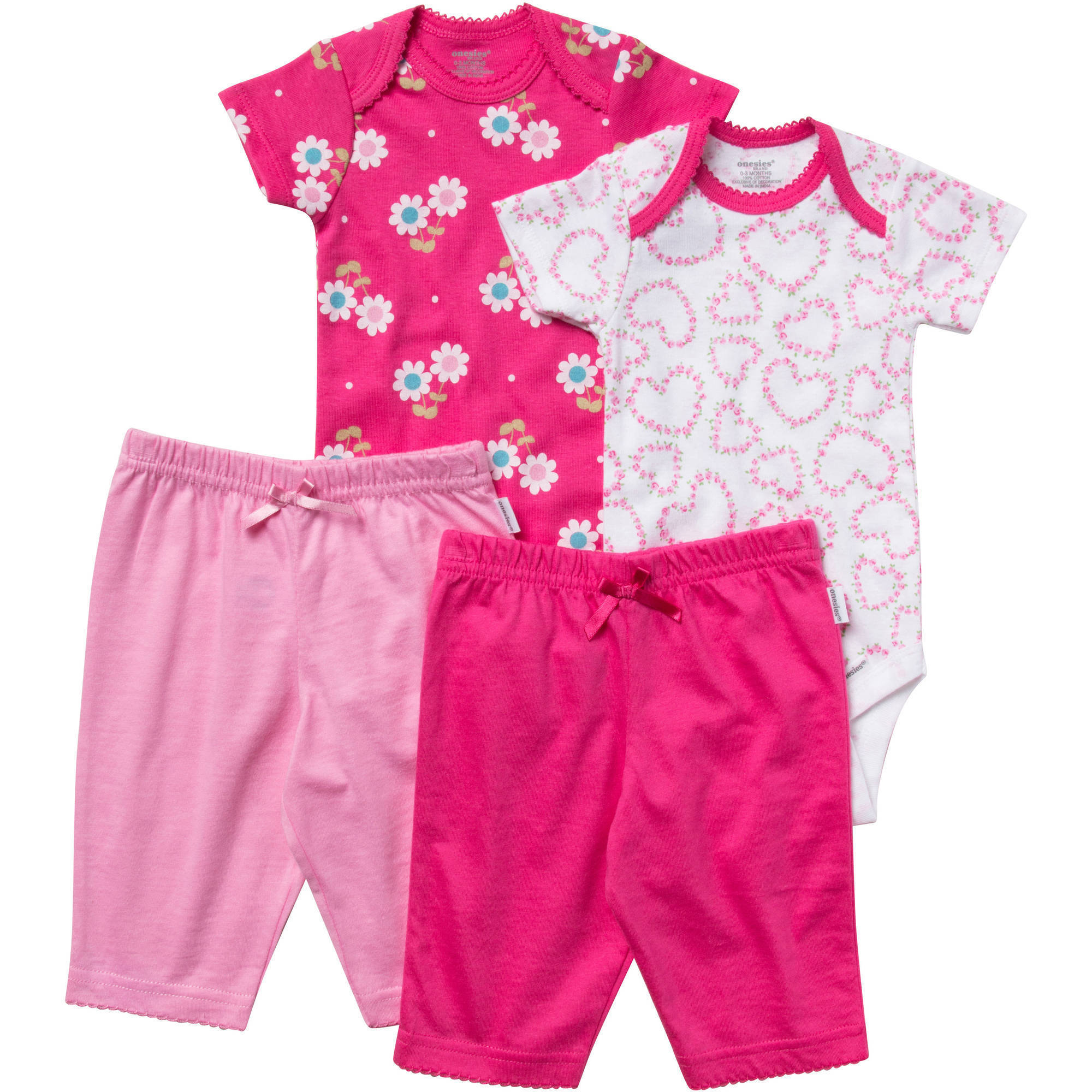 Onesies Brand Newborn Baby Girl Layette Set, 4 Pc