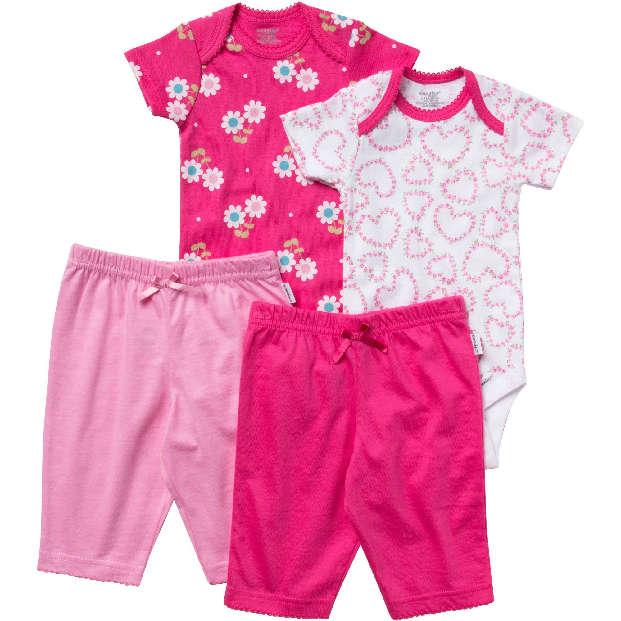 Onesies Brand Newborn Baby Girl Layette Set, 4 Pc