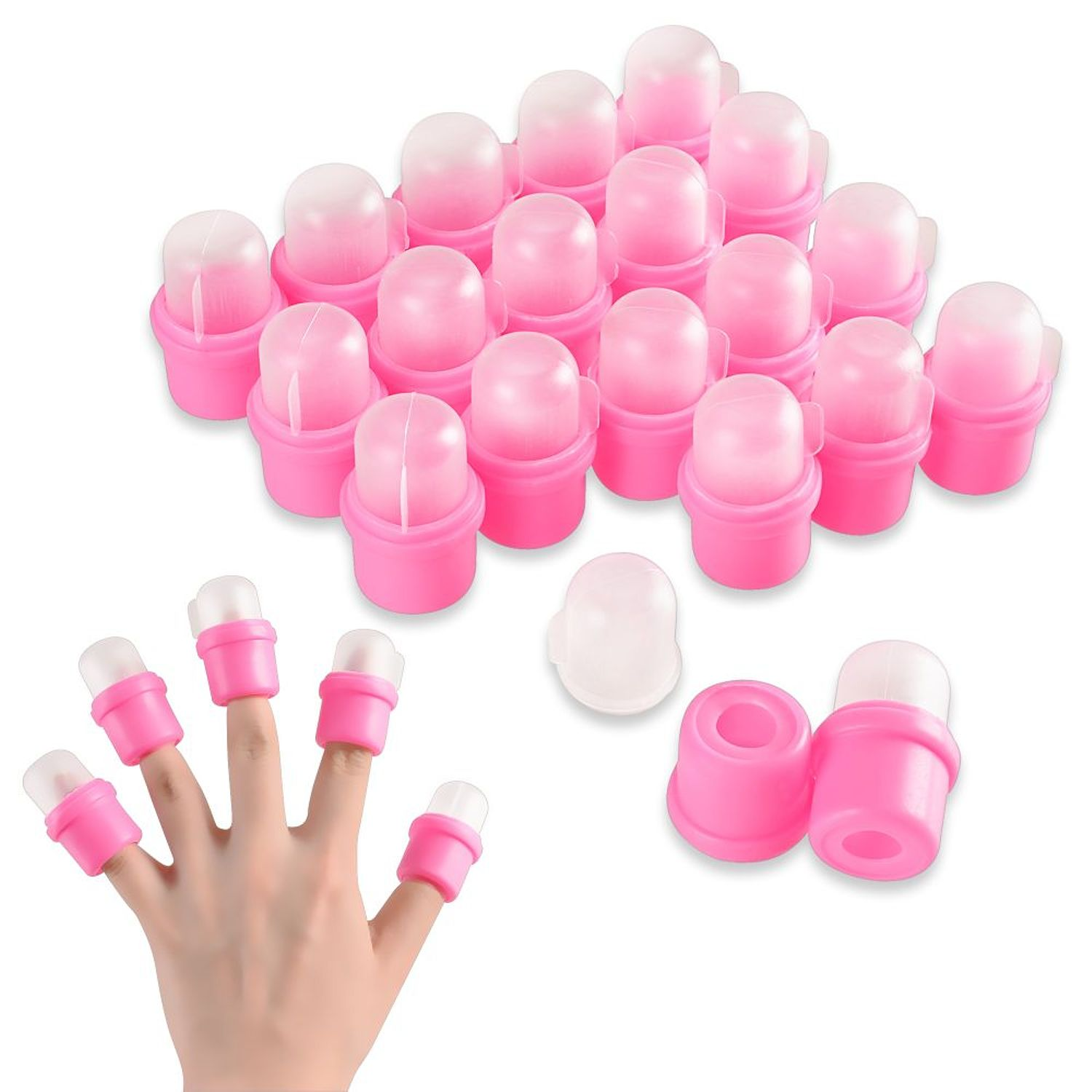 Zodaca 20 pcs Cap DIY Wearable Salon Nail Art Acrylic UV Gel Polish Remover Soak Soakers Tool For Manicure