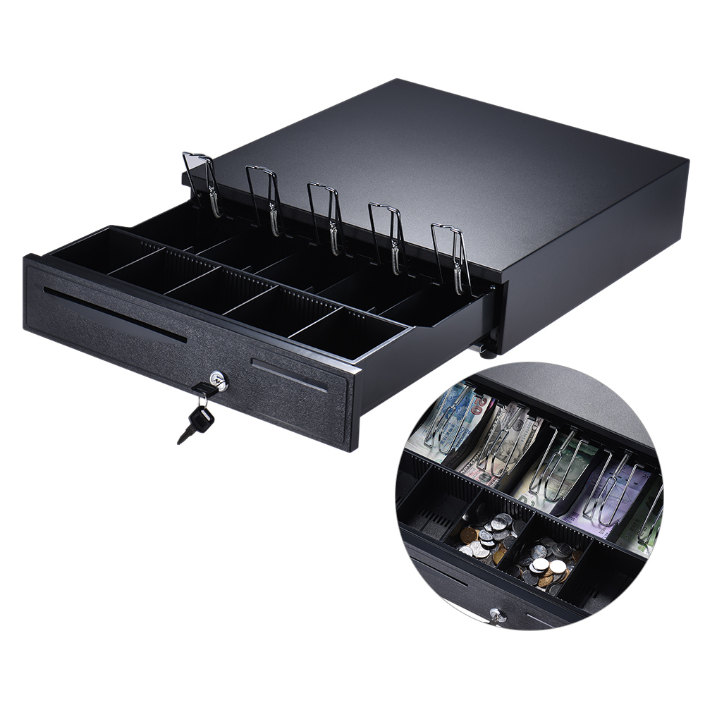 Heavy Duty Electronic Cash Drawer Storage 5 Bill 5 Coin Trays Check Entry Support Auto Manual Open Key-lock