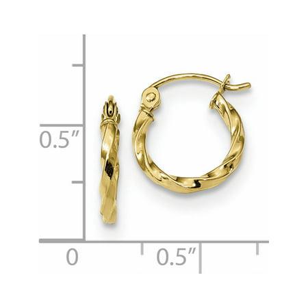 10k or jaune poli Twist Hoop (12.08x13.34mm) Boucles d'oreilles - image 1 de 2