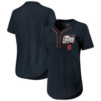 Women's New Era Navy Detroit Tigers Henley Mesh Jersey T-Shirt
