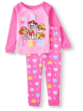 Paw Patrol Toddler Girl Snug Fit Cotton Long Sleeve Pajamas, 2-Piece Set