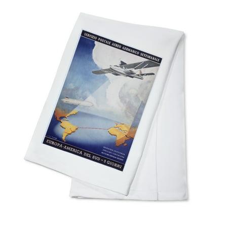 Deutsche Lufthansa   Servizio Postale Aereo Vintage Poster  Artist  Axster Heiestafs    100  Cotton Kitchen Towel