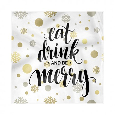Eat Drink and Be Merry Napkins Set of 4, Abstract Snowflakes Circles Celebration for New Year Typography, Silky Satin Fabric for Brunch Dinner Buffet Party, by Ambesonne ()