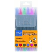 Itoya Doubleheader Calligraphy Marker 6-Color Set, Bright Colors