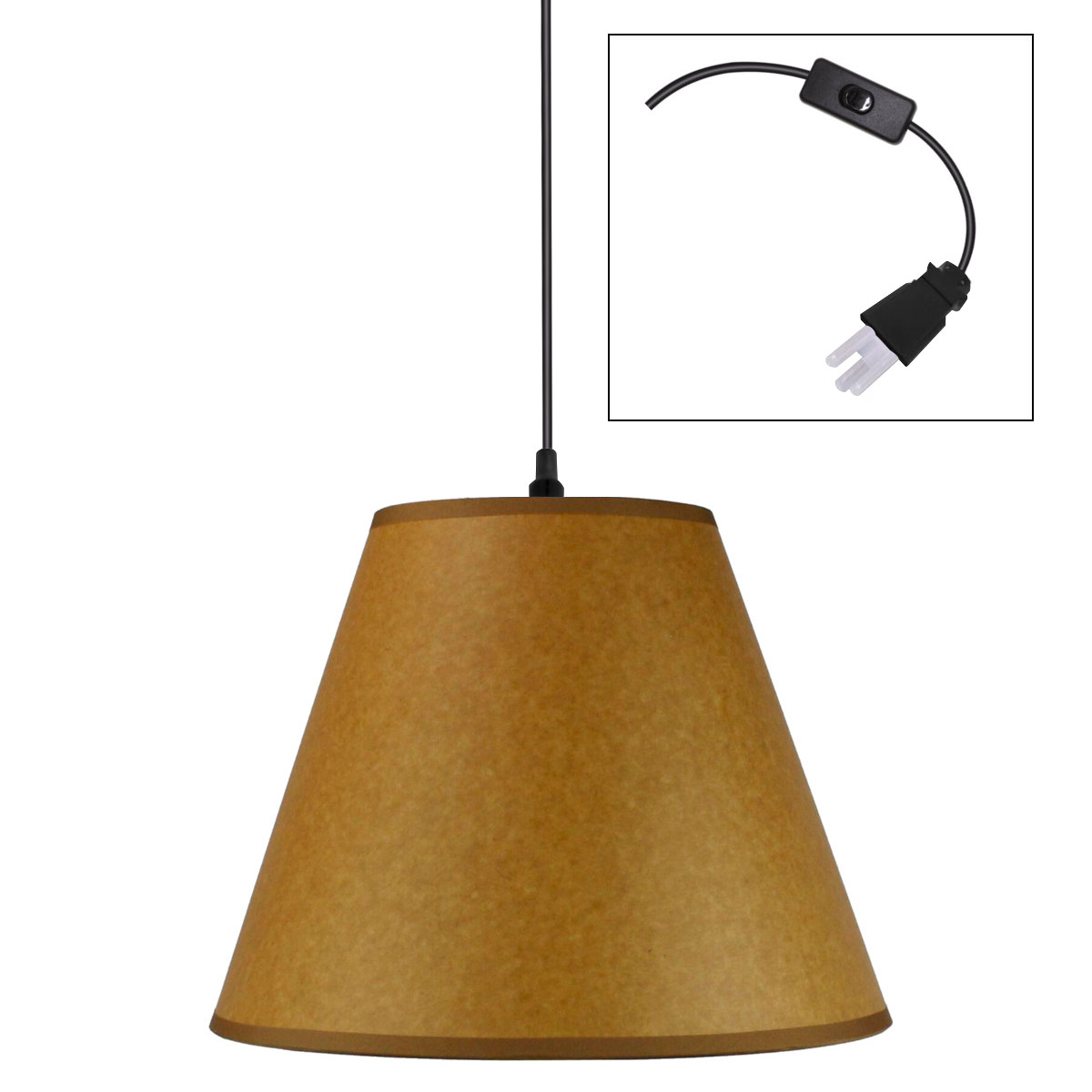 brown parchment 1 light swag plugin pendant hanging lamp 6x12x95