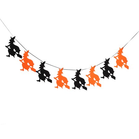 WALFRONT 7Types Happy Halloween Fabric String Banner Hanging Bunting Flag Garland Decor Party Ornaments,, String Banner (Halloween Garland Etsy)