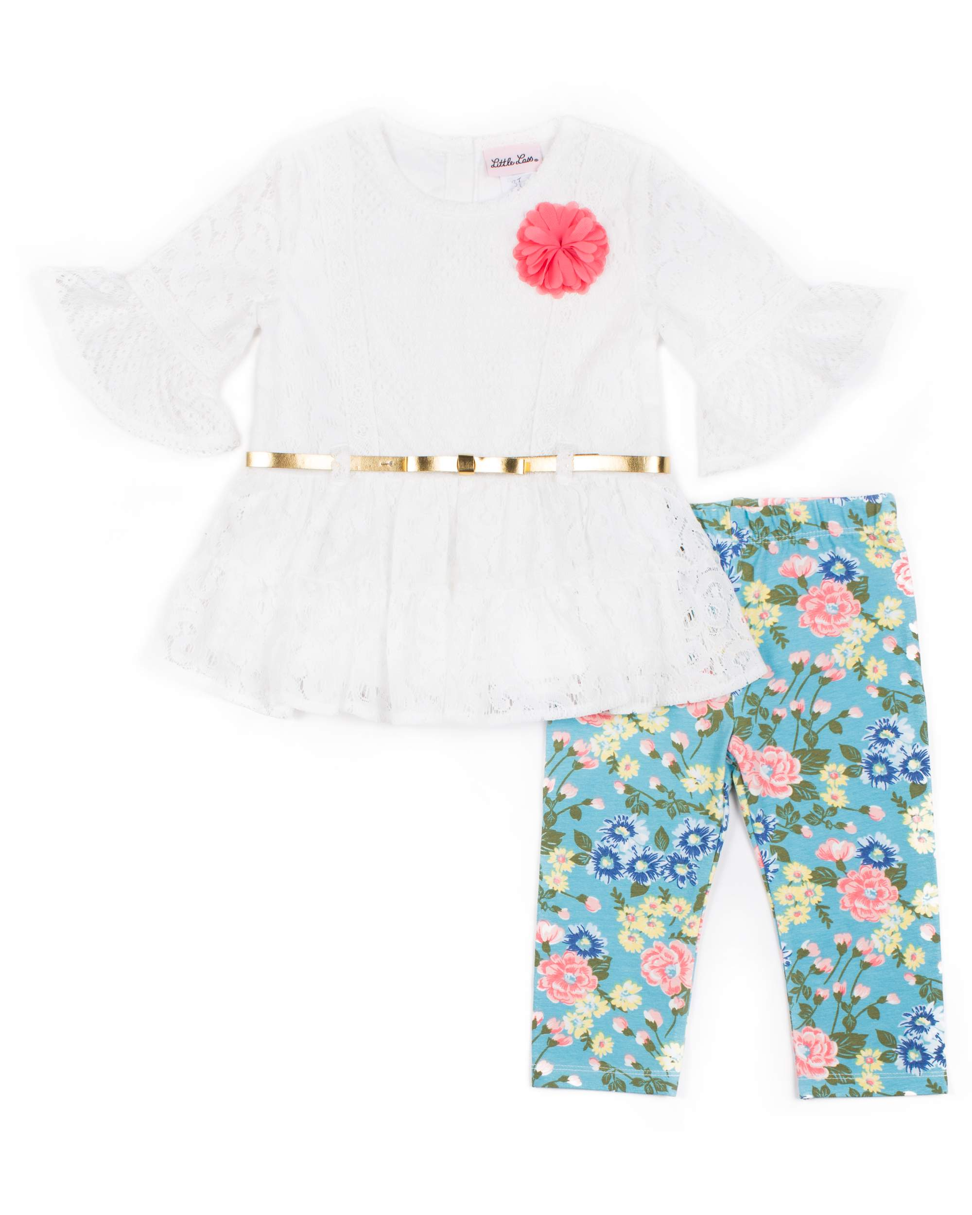 Lace Top and Printed Capri Legging, 2-Piece Outfit Set (Little Girls)