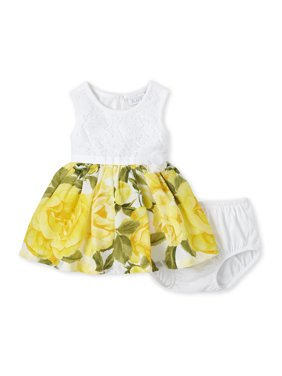 The Children's Place Baby Girl Sleeveless Floral Pleated Dress and Bloomer Set