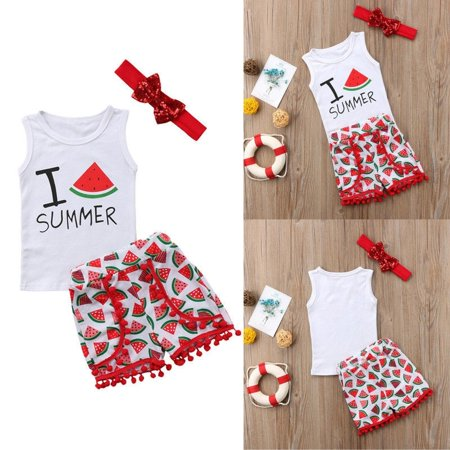 Infant Baby Kids Girls I Summer Watermelon Clothes Outfits Costume Vest Pants