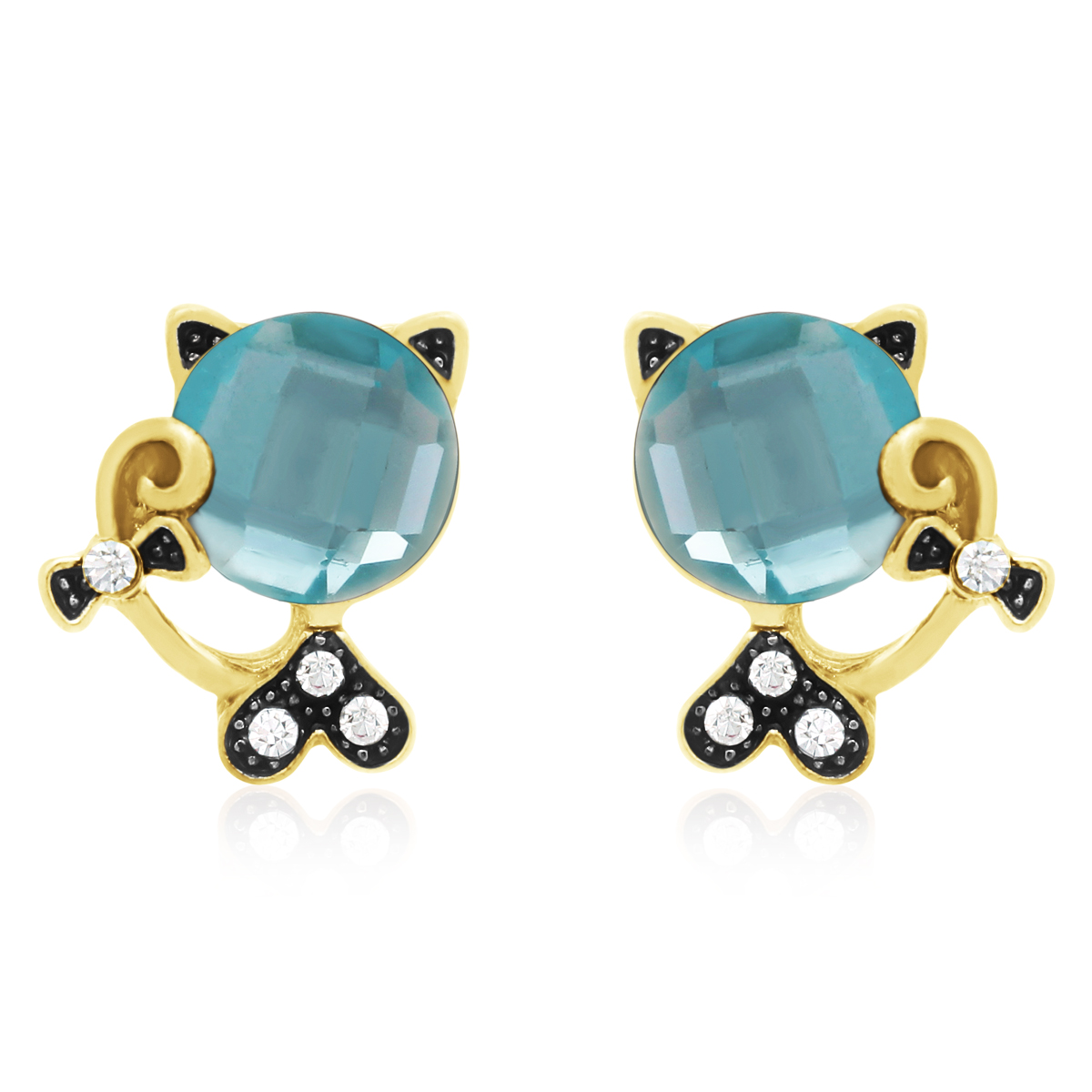 Swarovski Elements Aquamarine Sassy Cat Stud Earrings, Gold Overlay, Pushbacks