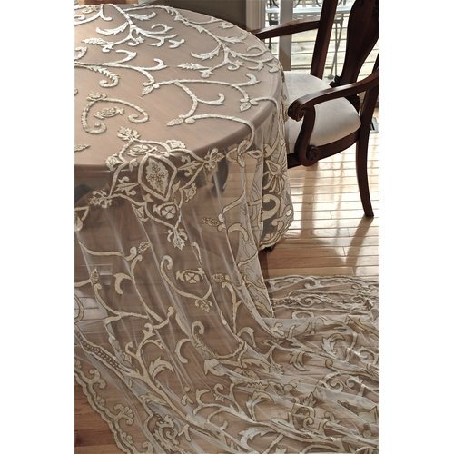 Debage Inc. Tudor Debage Appliqu  Net Table Cover In Antique