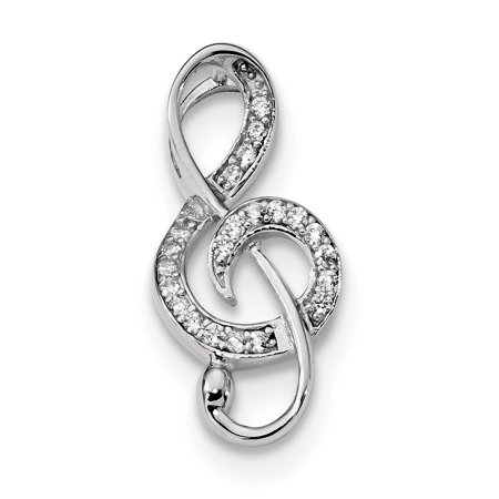 Designer Sterling Silver Rhodium-Plated Cz Treble Clef Slide (Length=23.4) (Width=10.85) Made In Thailand