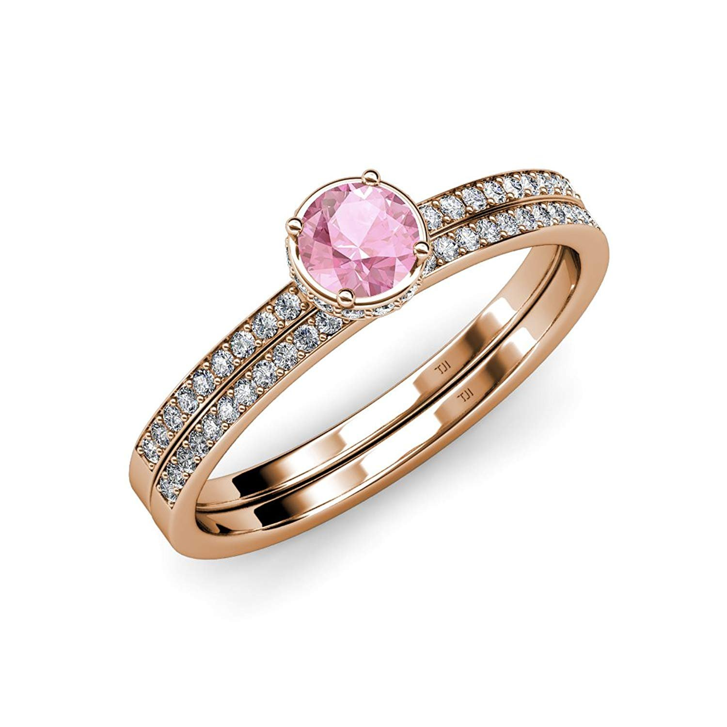 Pink Tourmaline & Diamond Halo Engagement Ring & Wedding Band Set 0.95 ct tw in 14K Rose Gold.size 6.0 by Trijewels