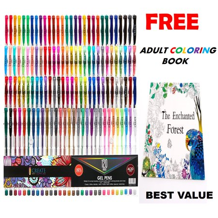 CREATE ART 120 Pack Gel Pens SetFREE COLORING BOOK The Enchanted Forest 50