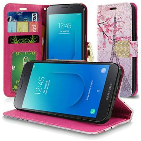 Samsung Galaxy J2 (2019)/J2 Pure Case, by Insten Vintage Eiffel Tower Paris Sakura Flowers Book-Style Leather Case Cover For Samsung Galaxy J2 (2019)/J2 Pure,