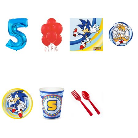 SONIC THE HEDGEHOG PARTY SUPPLIES PARTY PACK FOR 32 WITH BLUE #4 BALLOON