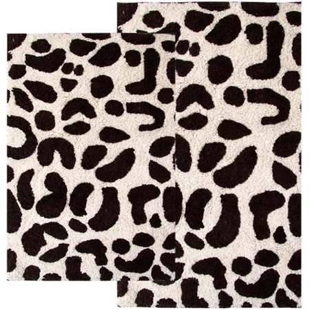 Leopard Print Bath Rug Ivory And Chocolate
