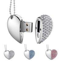KOOTION Heart-Shape Pendant USB Flash Drive, Cordiform USB2.0 Memory Stick, Drive for Photos&Videos, 8G, Silver