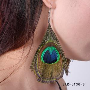 Fancyleo Fashion European and American national style Peacock Feather Silvery Hook Women