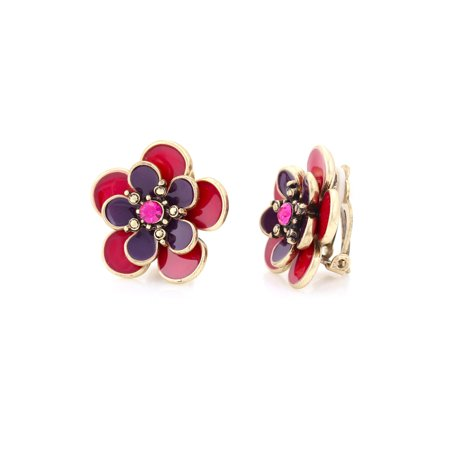 TAZZA WOMEN'S GOLD PURPLE AND PINK FLOWER CLIP ON (Porcelain Clip Earrings)