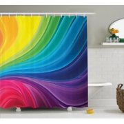 Abstract Home Decor Shower Curtain Set, Abstract Smooth Rainbow Curvy Lines Pattern Spiral Wavy Light Spray Art, Bathroom Accessories, 69W X 70L Inches, By Ambesonne